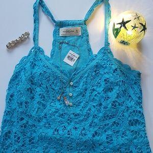 Abercrombie & Fitch Blue Lace Racerback Top NWT L